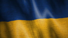 Burlap Flag of Ukraine. stock video footage