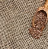 Burlap with flax seeds. Stock Photos