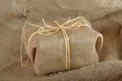 Burlap gift Stock Photography