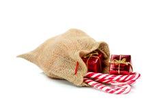 Burlap gift bag Stock Photo