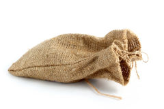 Burlap gift sack Stock Photos