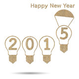 Burlap happy new year 2015. For creative greeting card design Stock Illustration