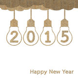 Burlap happy new year 2015. For creative greeting card design Stock Photography