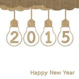 Burlap happy new year 2015 Stock Photography
