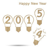 Burlap happy new year 2015. For creative greeting card design Royalty Free Illustration
