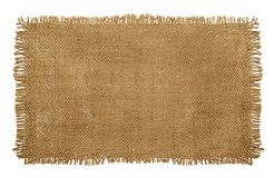 Burlap Hessian Sack material with worn frayed edges isolated on. A white background royalty free stock image