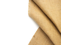 Burlap hessian sacking on white. Burlap hessian sacking isolated on white background stock photo