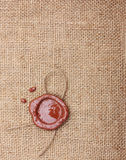 Burlap hessian sackingwith wax seal. Stock Photos