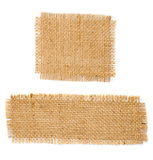 Burlap hessian square with frayed edges set Stock Photo