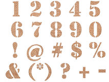 Burlap material textured numbers, signs and symbols Royalty Free Stock Photography