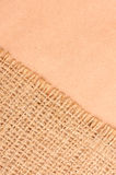 Burlap and paper background Stock Photo
