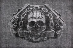 Burlap  with a picture of the skull and chain guns Royalty Free Stock Images