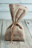 Burlap pouch Royalty Free Stock Images