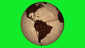 Burlap Rotating Earth Green Screen Royalty Free Stock Image