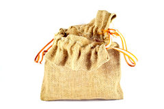 Burlap sack bag on white background.  Stock Photos