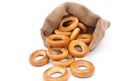 Burlap sack with bagels Stock Photography