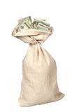 Burlap sack of cash Royalty Free Stock Photo