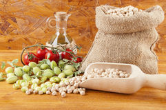 Burlap sack with chickpeas Stock Image