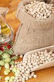 Burlap sack with chickpeas Royalty Free Stock Images