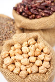 Burlap sack with chickpeas Royalty Free Stock Photo