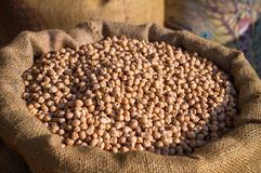 Burlap sack with chickpeas Stock Images