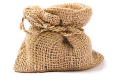 Burlap sack clay pots Stock Photos