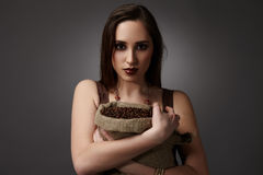 Burlap sack of coffee royalty free stock photo