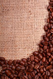 Burlap sack with coffee bean border Royalty Free Stock Image