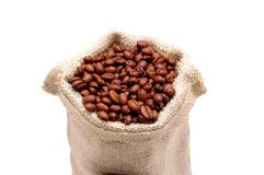Burlap Sack & Coffee Beans. Burlap Sack with Coffee Beans spilling out - isolated stock photos