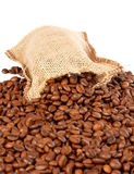 Burlap sack and coffee beans Stock Photos