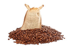 Burlap sack and coffee beans Stock Photo