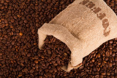 Burlap sack of coffee beans Stock Photo