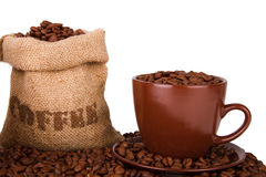 Burlap sack of coffee beans Royalty Free Stock Photography