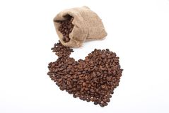 Burlap sack with coffee heart Royalty Free Stock Image