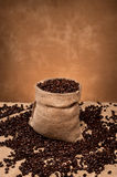 Burlap sack of coffee Stock Photo