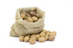 Burlap sack full of whole walnuts Stock Photo