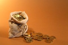 Burlap Sack With Money Stock Photos