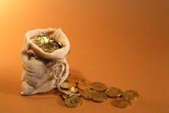Burlap Sack With Money Stock Photos