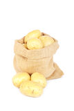Burlap sack with potatoes royalty free stock photos