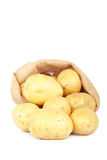 Burlap sack with potatoes Royalty Free Stock Image