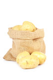 Burlap sack with potatoes Stock Image