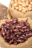 Burlap sack with red beans Stock Image