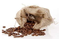 Burlap sack of roasted beans Stock Image