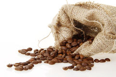 Burlap sack of roasted beans Stock Photos