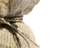 Burlap sack and rope. Burlap sack with twine rope Royalty Free Stock Photo