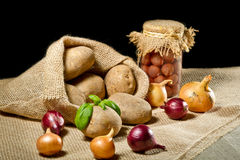 Burlap sack with vegetables Royalty Free Stock Images