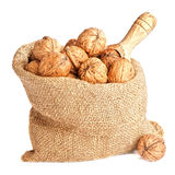 Burlap Sack Of Walnuts Royalty Free Stock Images