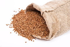 Burlap Sack With Buckwheat Stock Images