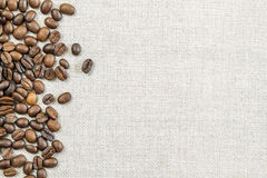 Burlap Sackcloth Canvas and Coffee Beans Photo Background. Copy Stock Images