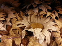 Burlap sunflowers Royalty Free Stock Photography